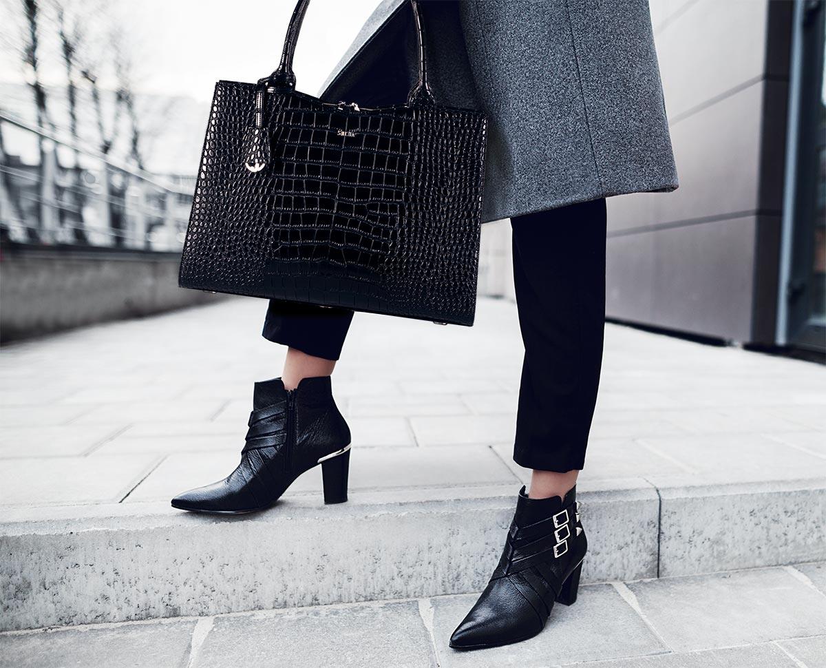 elegante businesstasche für damen modell black croco von socha