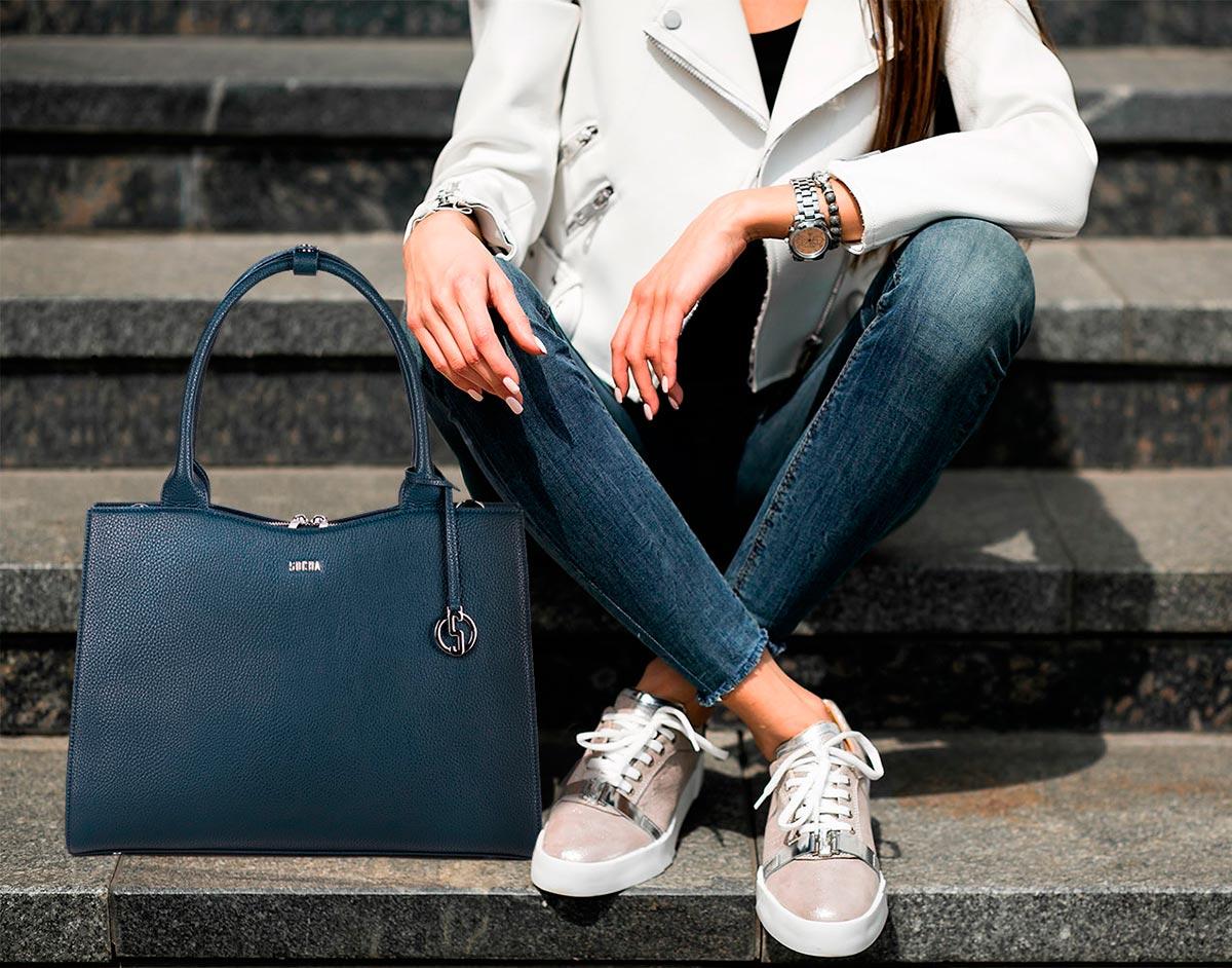 sportlich elegante businesstasche für frauen modell navy blue