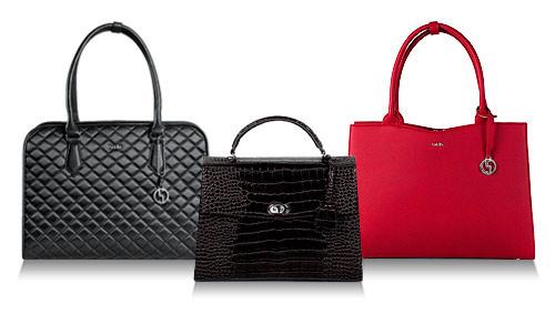 socha businesstasche damen, scharz gesteppt, croco schwarz und cherry red