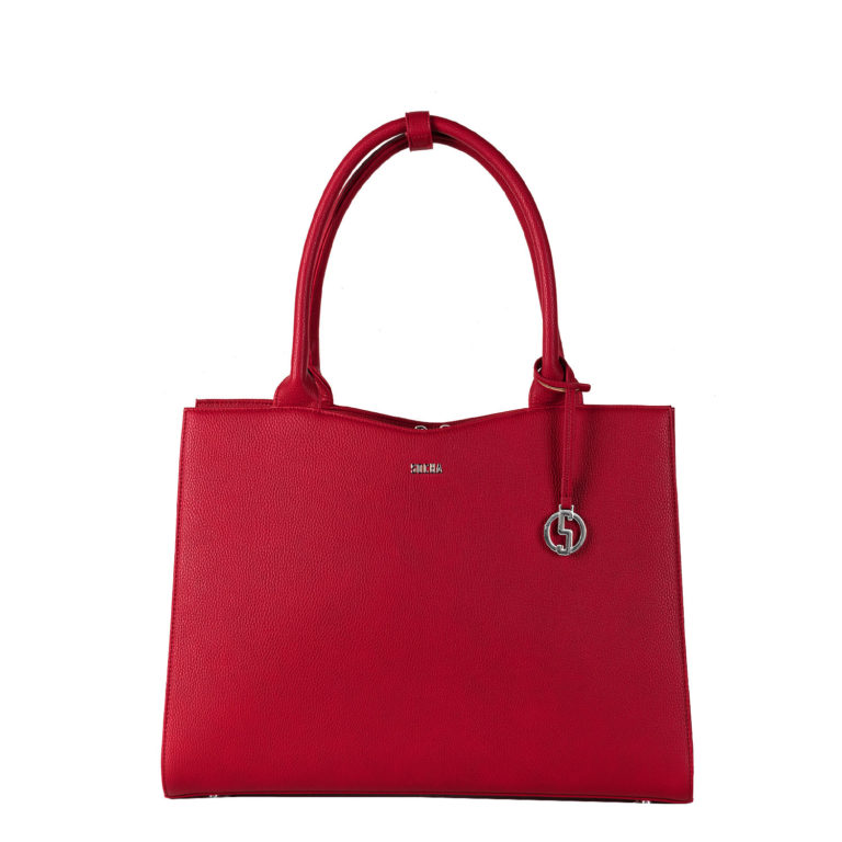 socha elegant business bag for women cherry red