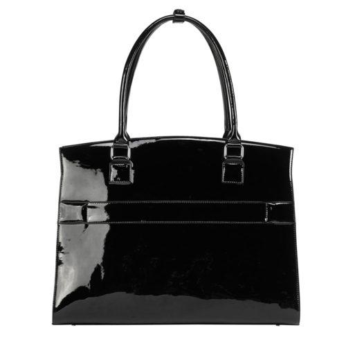 socha elegante businesstasche iconic mirror für damen hermes design hochglanz schwarz