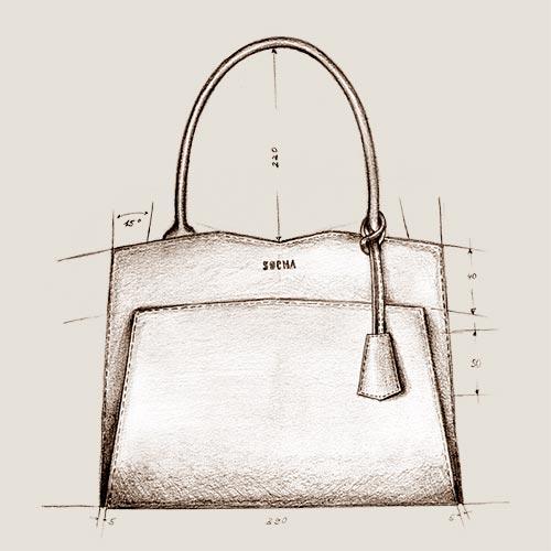 die erste handskizze socha businesstasche