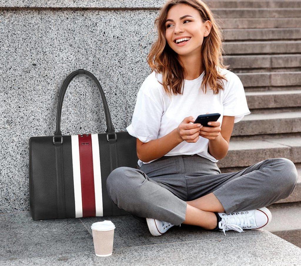 sportliche laptoptasche bb red stripe 15 zoll von socha